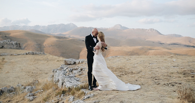 Luca and Jessica during their marriage in Abruzzo